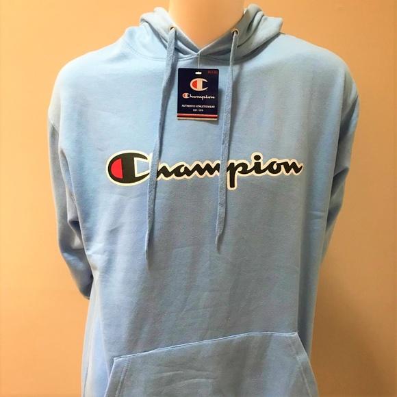 mens champion hoodie pullover 2XLT nwt navy blue script